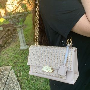 Micheal kors Studded Leather Chain Shoulder Bag